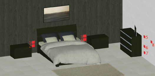 Questa immagine rappresenta un'ipotetica disposizione di prese in una camera da letto matrimoniale
