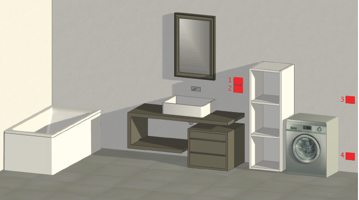 Questa immagine rappresenta un'ipotetica distribuzione delle prese e degli interruttori in un bagno