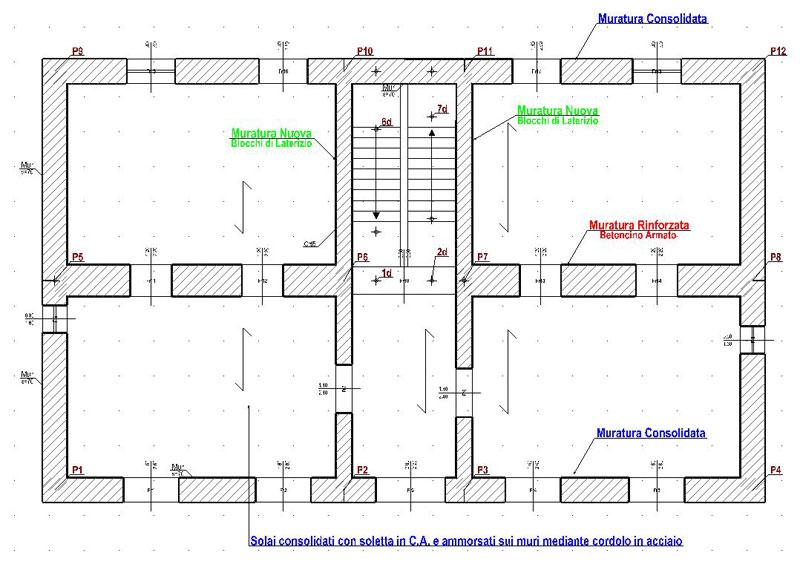 Carpenteria dello stato di progetto con individuazione degli interventi
