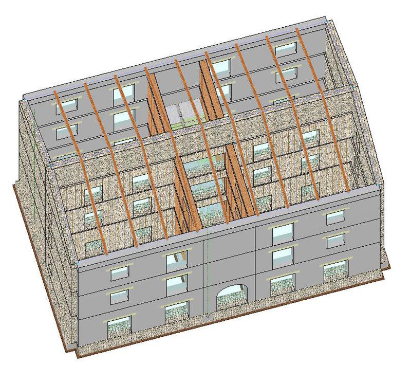 Vista della struttura con individuazione degli interventi