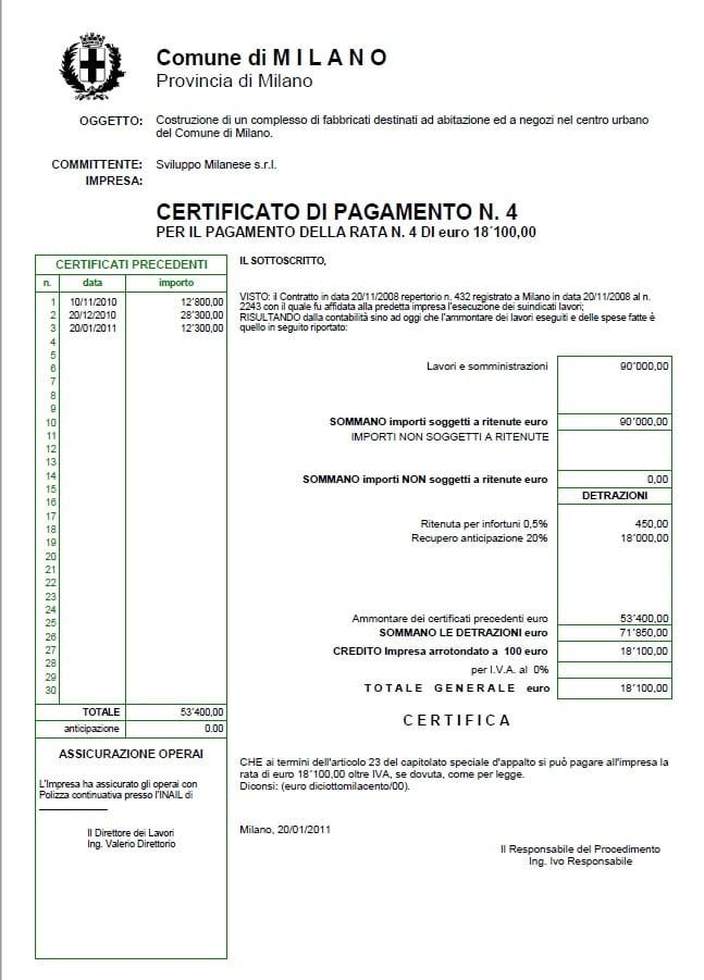 Esempio certificato di pagamento