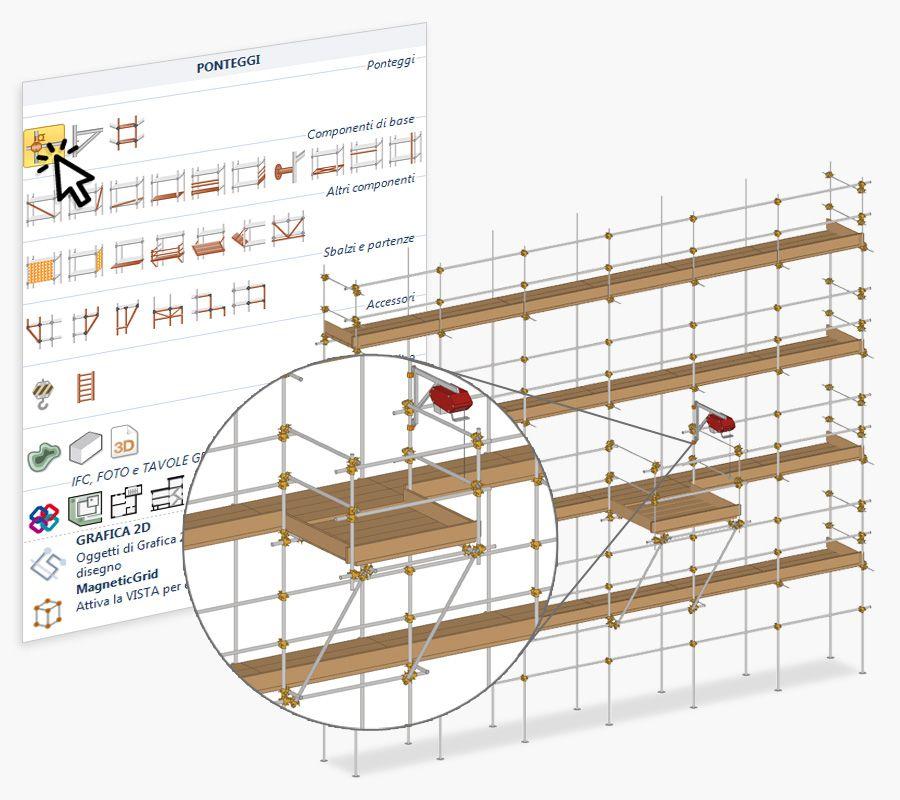 modellazione ponteggi in 2D e 3D