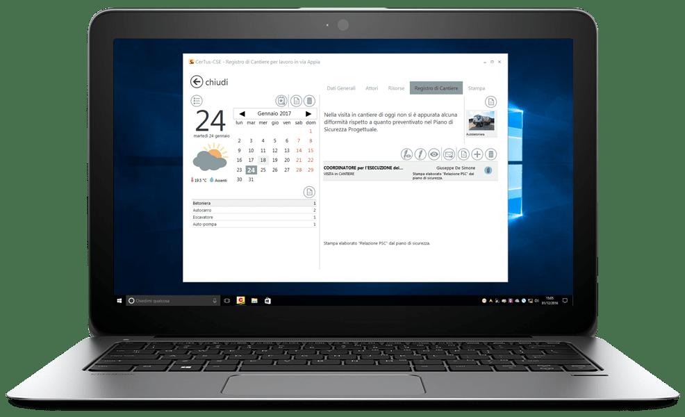 CerTus-CSE - Annotazioni sul registro di cantiere da desktop