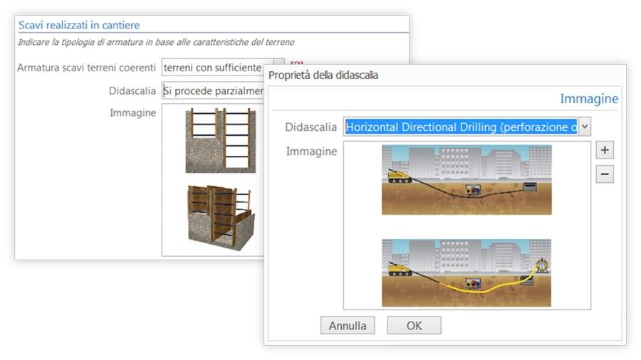 Piano di sicurezza Scavi con descrizioni ed immagini personalizzabili