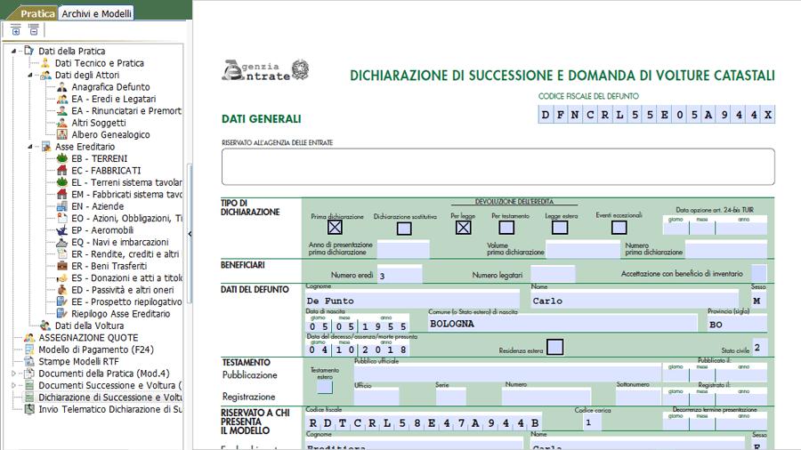 Software Compilazione Dichiarazione di Successione Telematica