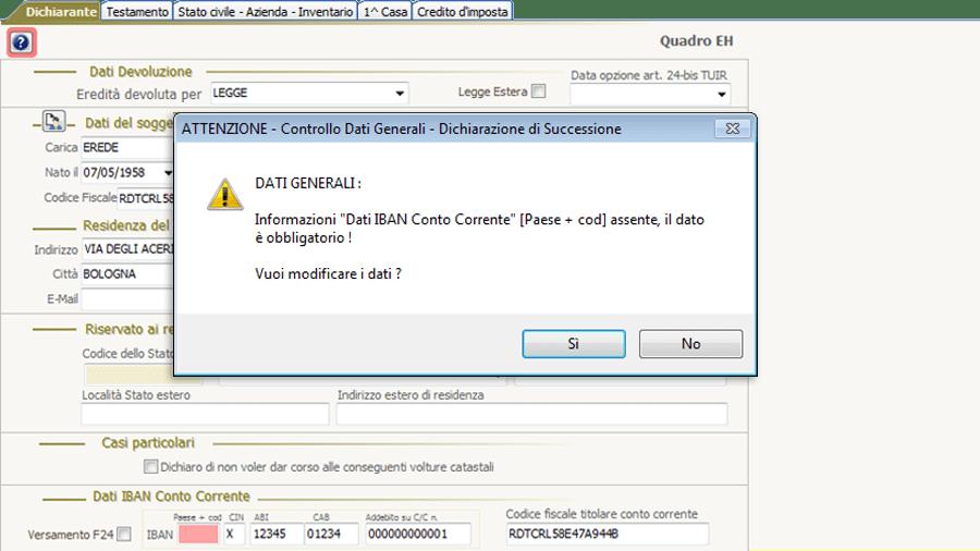 Software controllo successione