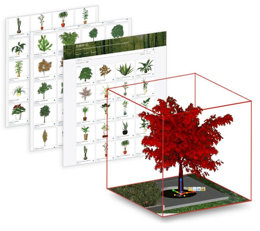 Libreria oggetti BIM per Giardini e Spazi verdi