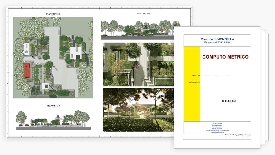 Tavole grafiche e planimetrie giardini