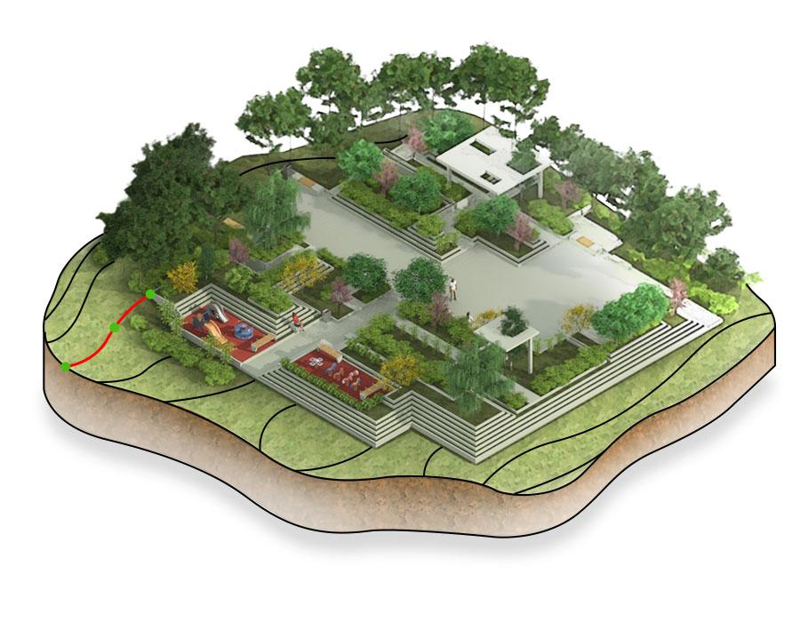 Modellazione del terreno, progettazione giardini e spazi esterni