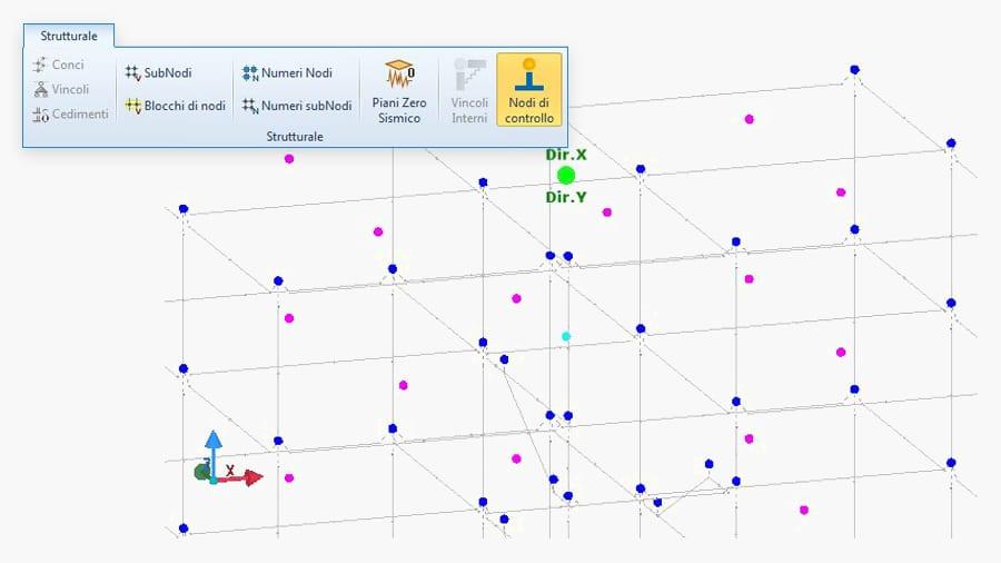 Schematizzazione della struttura con modello a fibre a plasticità diffusa