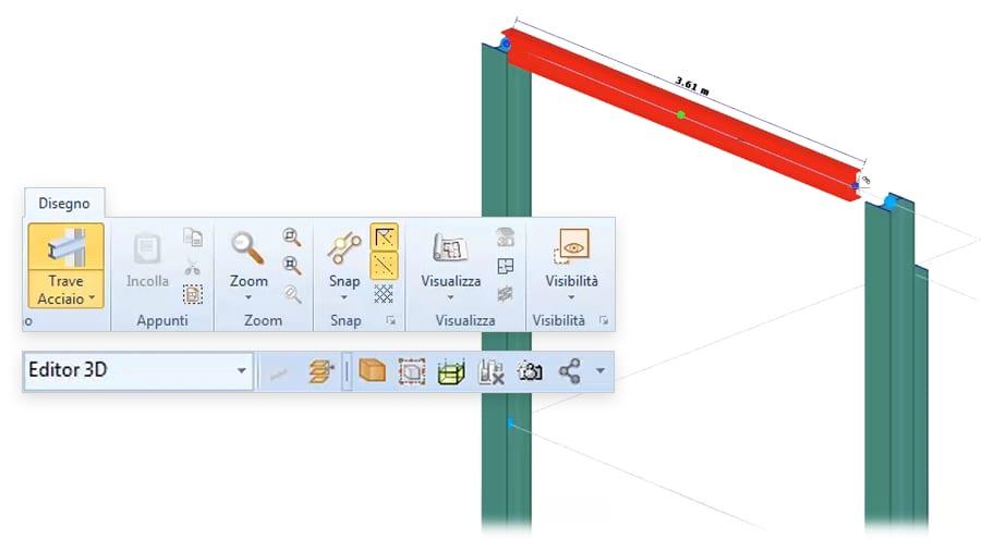 input grafico con oggetti parametrici BIM