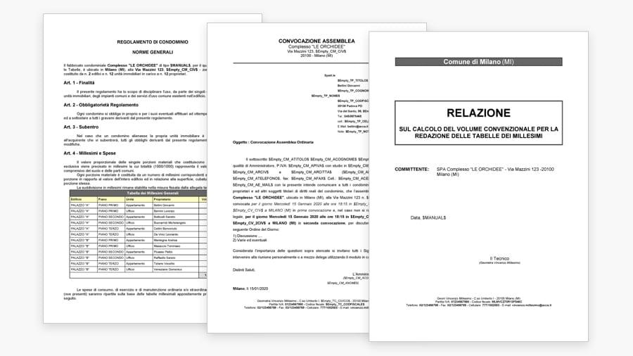 Stampa personalizzata della Relazione, del Regolamento di Condominio e della Convocazione
