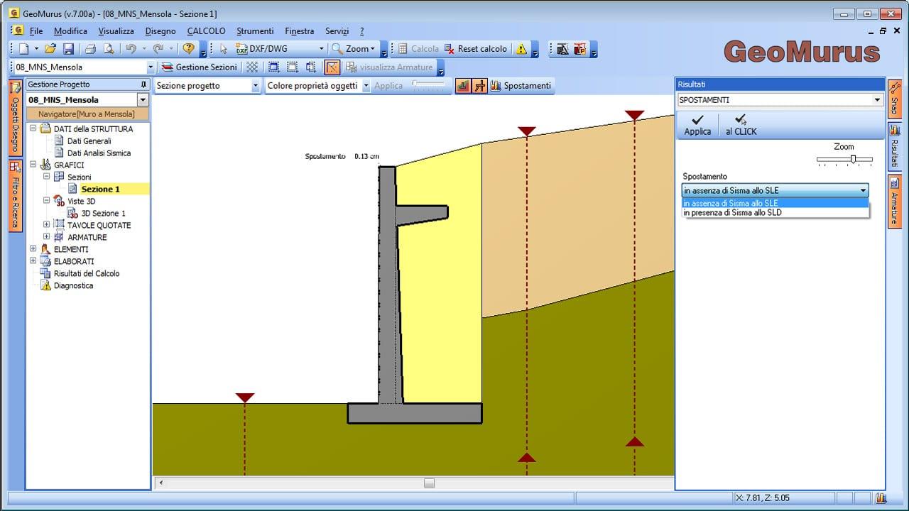 GeoMurus - Risultati Calcolo Spostamenti Testa Muro