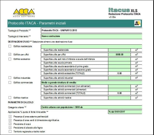 Parametri iniziali Protocollo ITACA