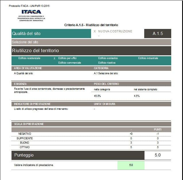 Scheda Criterio Protocollo ITACA