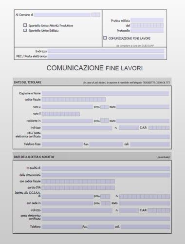 CFL (Comunicazione Fine Lavori) - Modello PDF editabile