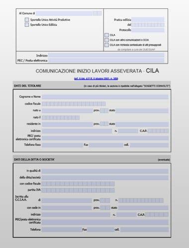 CILA (Comunicazione Inizio Lavori Asseverata) - Modello PDF editabile
