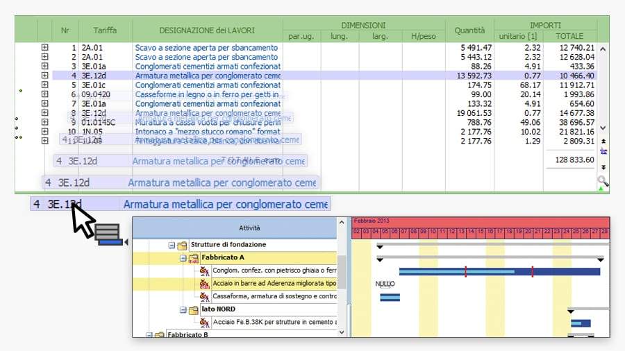 Cronoprogramma da un file DCF o importando le attività da PriMus