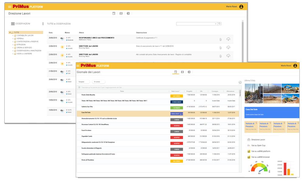 Dashboard e cruscotti di monitoraggio on line per il supervisor - PriMus-PLATFORM