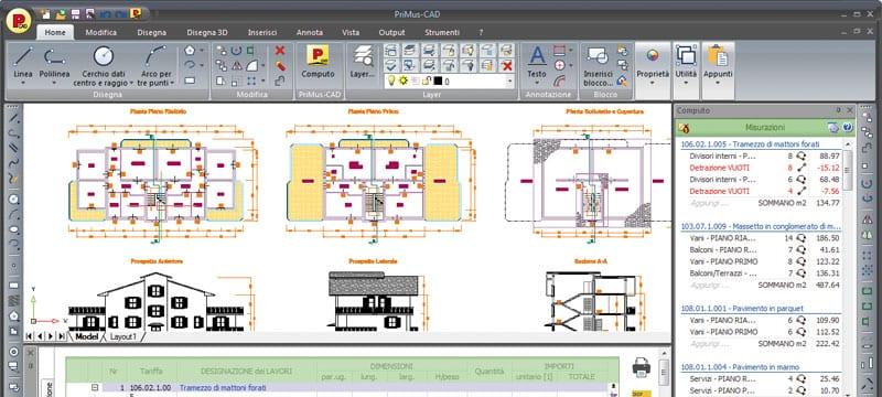 Misure direttamente da progetti CAD e IFC di modelli BIM