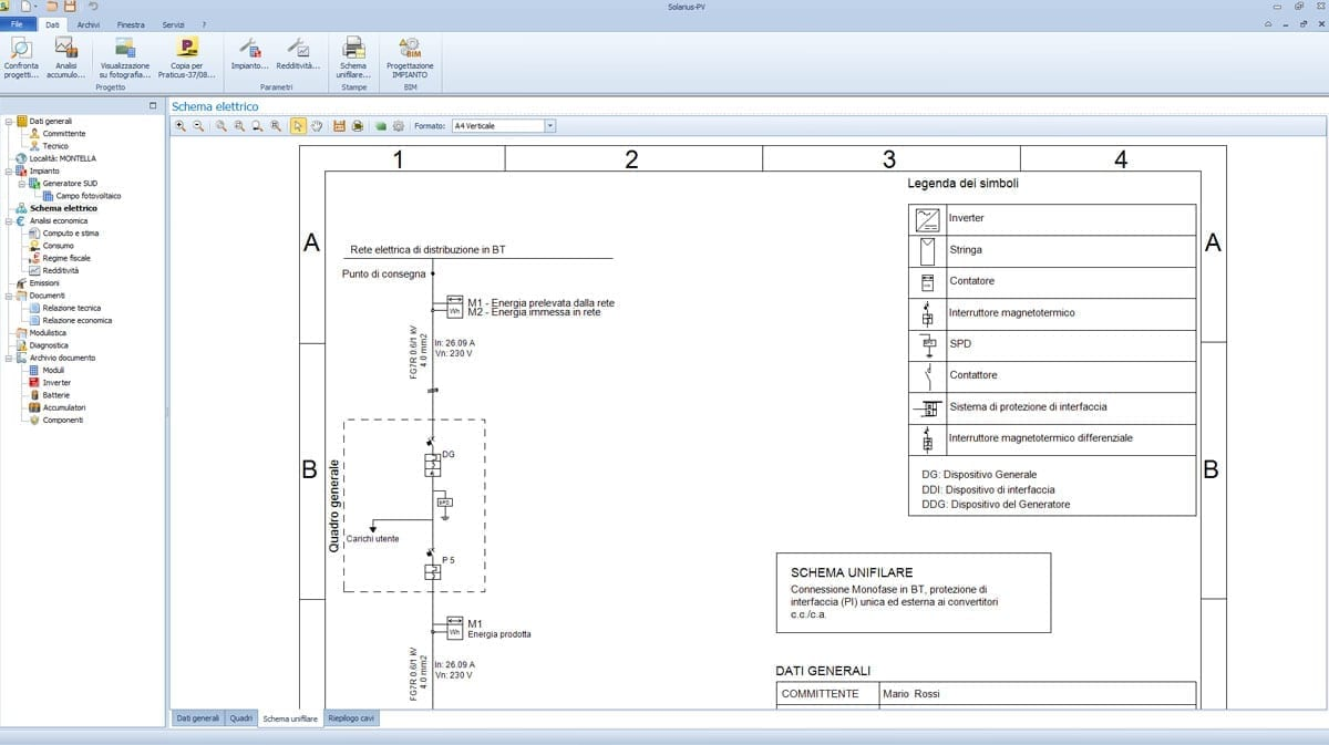 Schema elettrico unifilare fotovoltaico