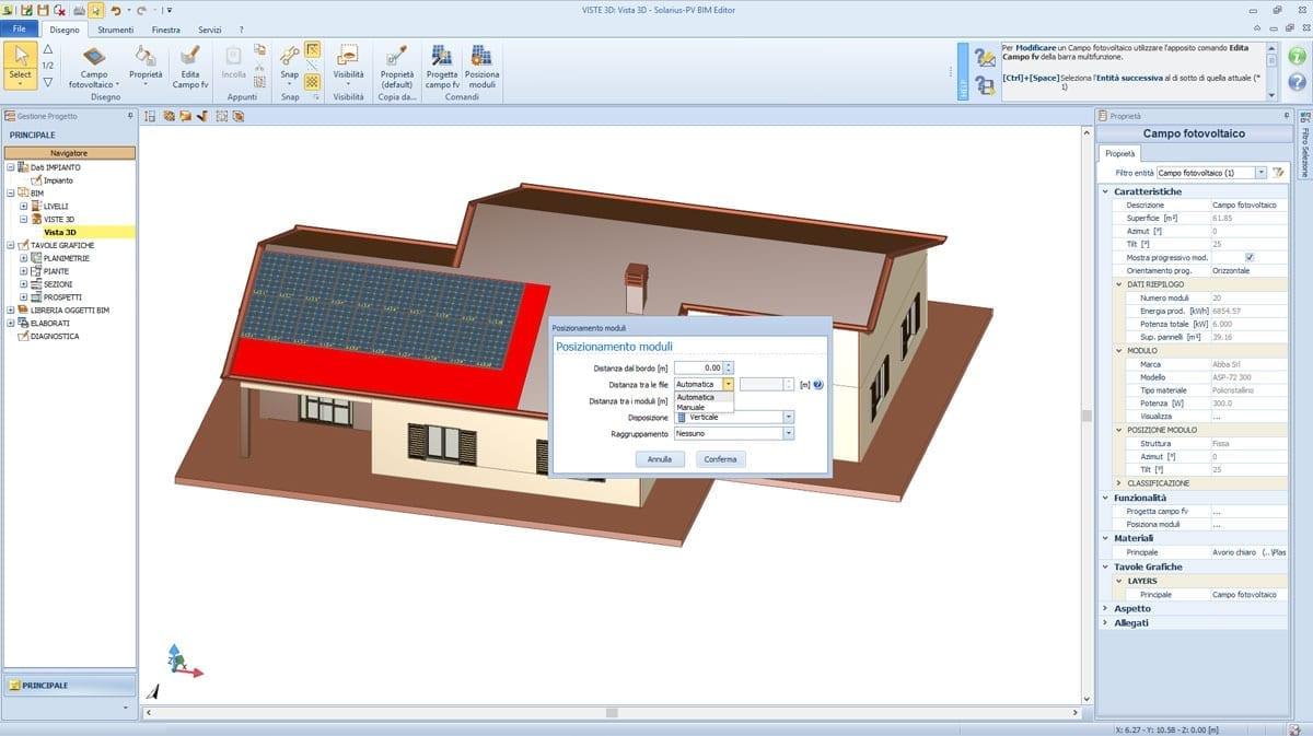 Schema dell'impianto fotovoltaico