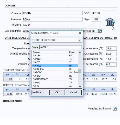 Input grafico calcolo carichi termici estivi - TerMus-E - ACCA software