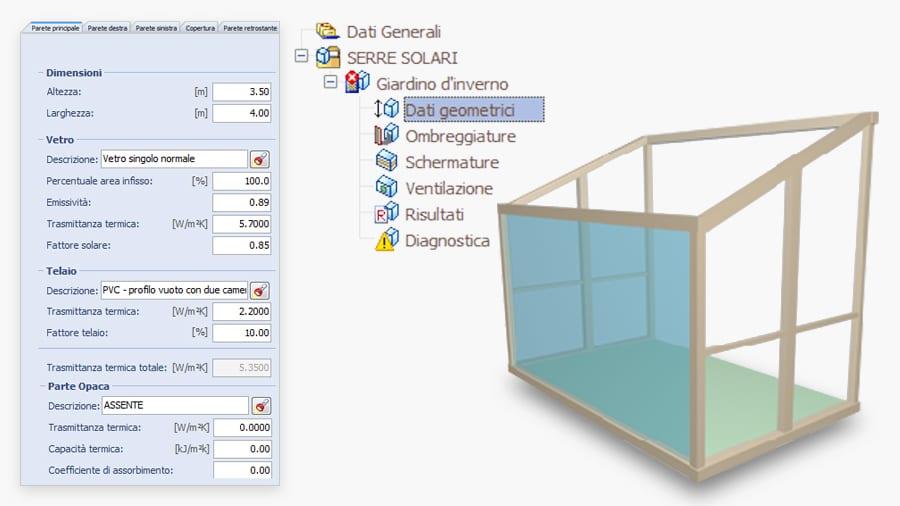 Dati geometrici e parametri-termici della serra solare