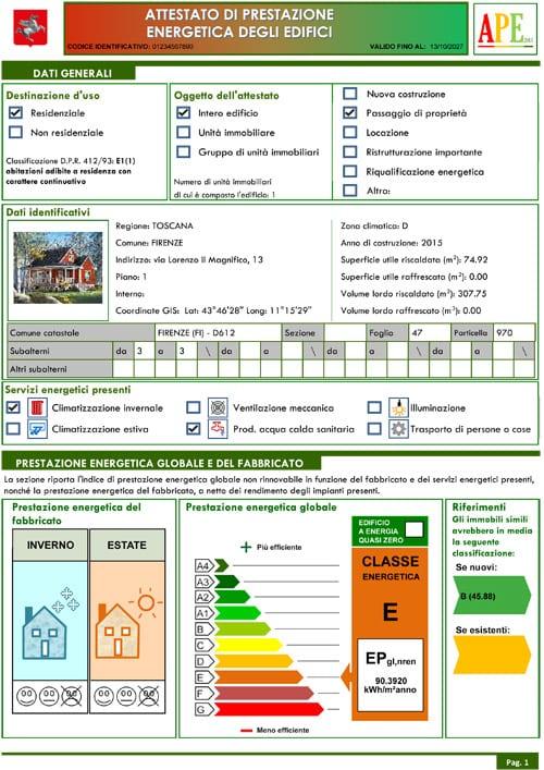 APE (Attestato di Prestazione Energetica) - Esempio PDF con TerMus