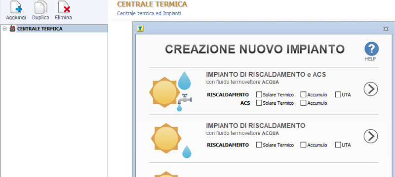 Definizione guidata della centrale termica