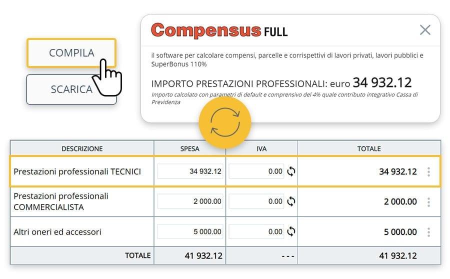 Calcolo parcella prestazioni professionali | usBIM.superbonus | ACCA software