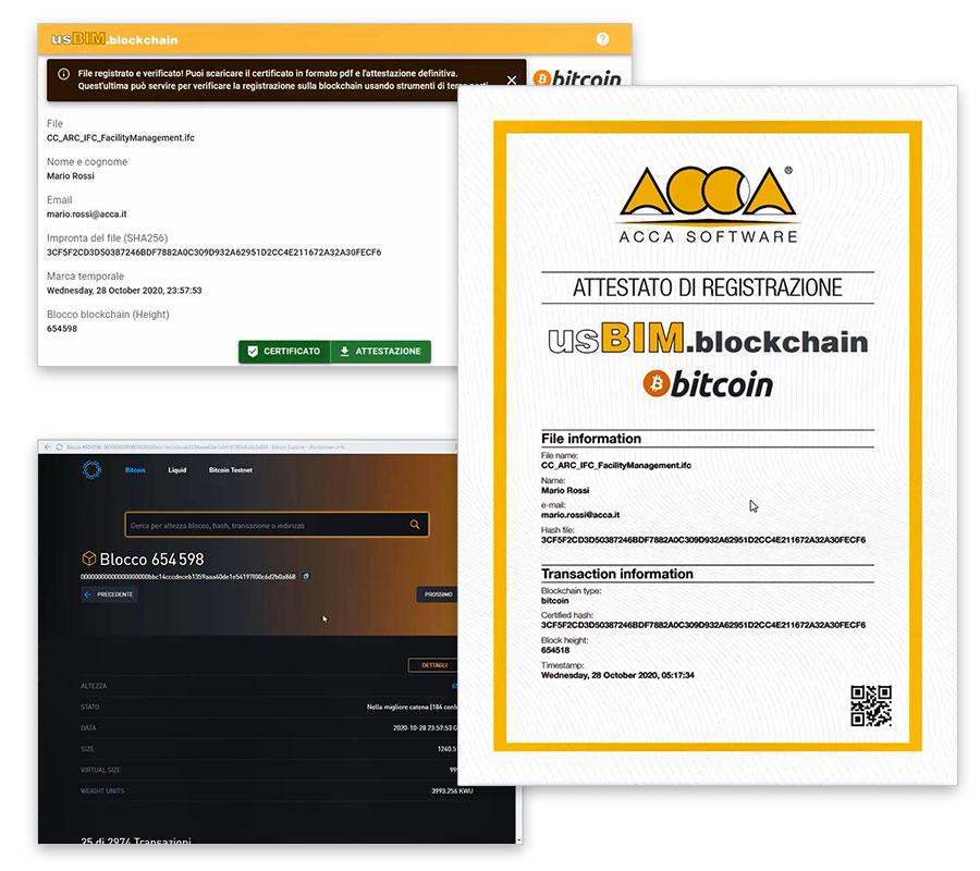 Dados do processo e do modelo BIM da construção | usBIM.blockchain | ACCA software