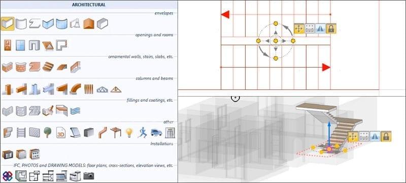 Projeto arquitetônico 3D com objetos arquitetônicos paramétricos BIM específicos | Edificius | ACCA software