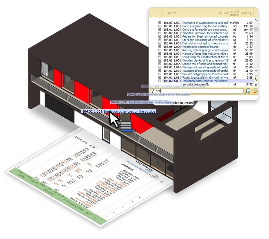 Automatic bill of quantities integrated with building design | Edificius | ACCA Software