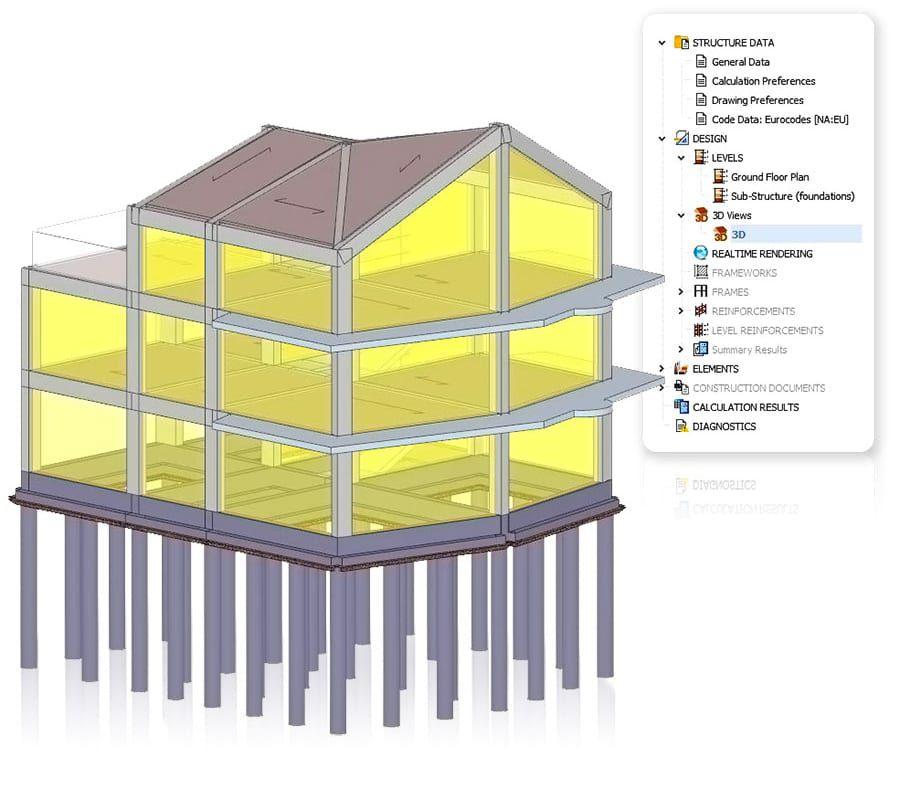 Diseño de edificios con cimentaciones pocas profundas y profunda - EdiLus CONCRETE - ACCA software