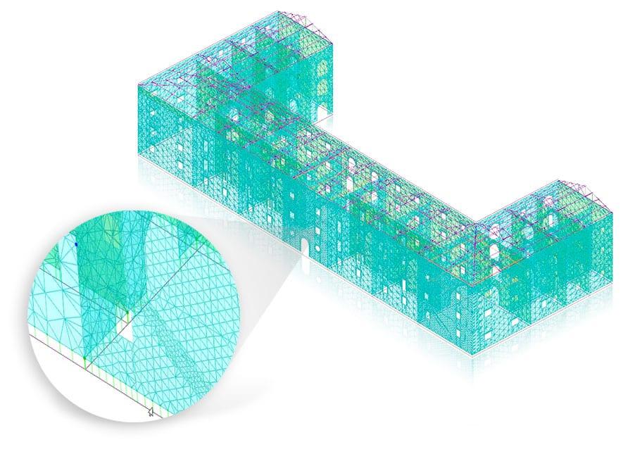 Modèle MEF (FEM) à éléments coque (shell) obtenu automatiquement - EdiLus MASONRY - ACCA software