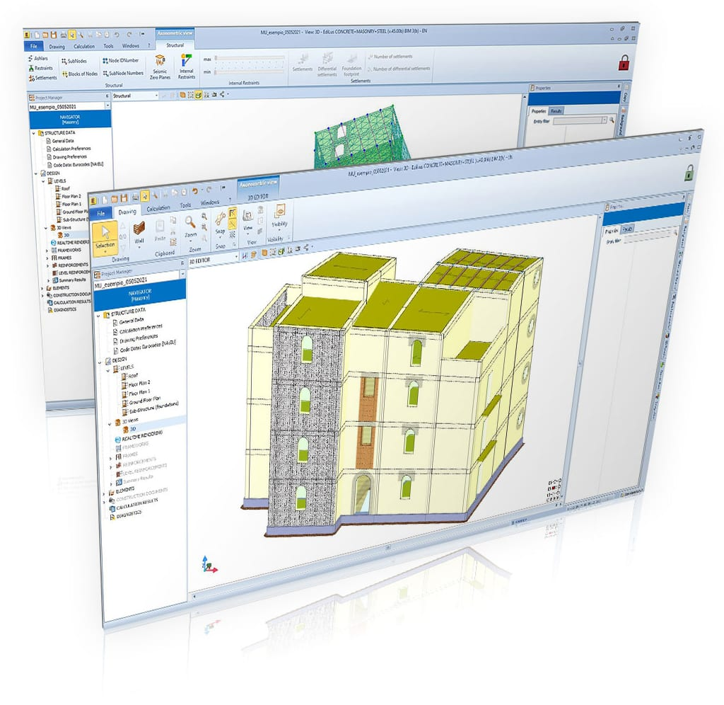 Conception d'interventions d'adaptation et d'amélioration de structures existantes en maçonnerie ou de structures mixtes - EdiLus MASONRY - ACCA software