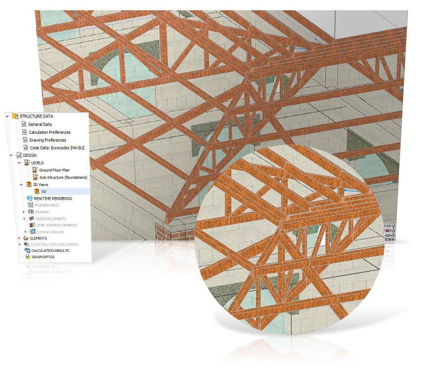 Desenho e calculo de elementos em madeira maciça e lamelar - EdiLus MASONRY - ACCA software