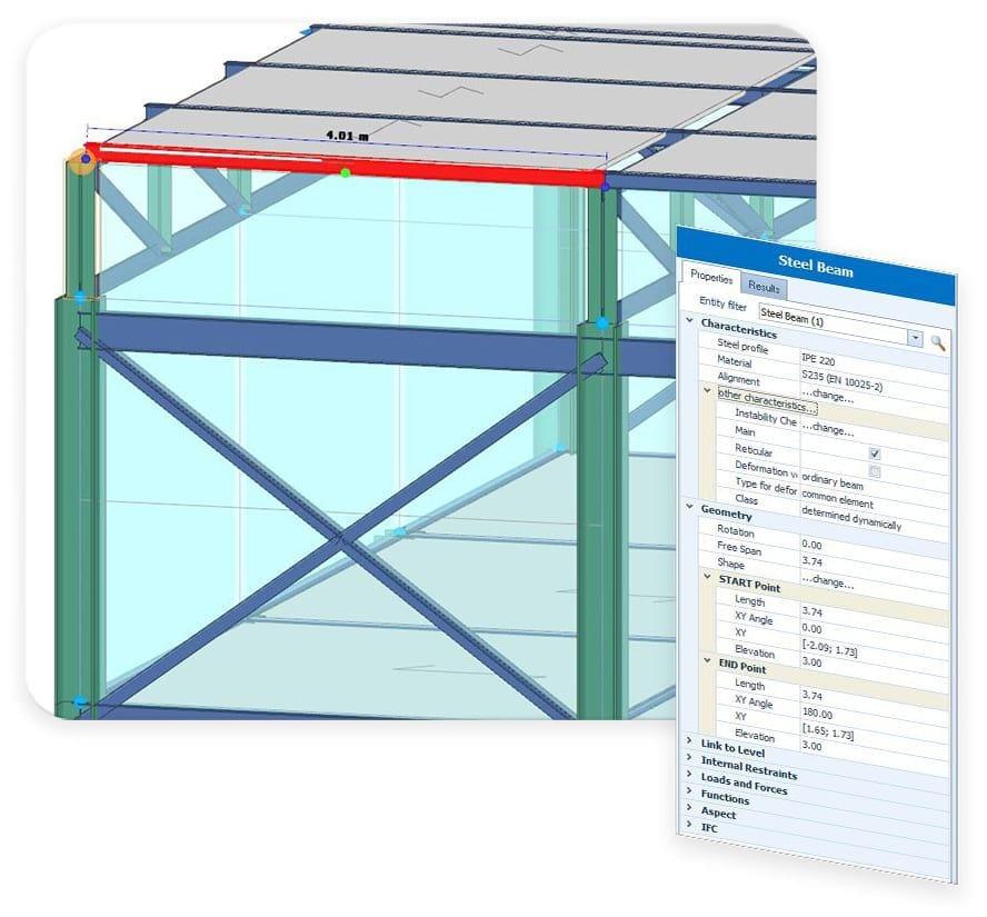 entrada de objetos y el solucionador FEM integrado - EdiLus STEEL - ACCA software