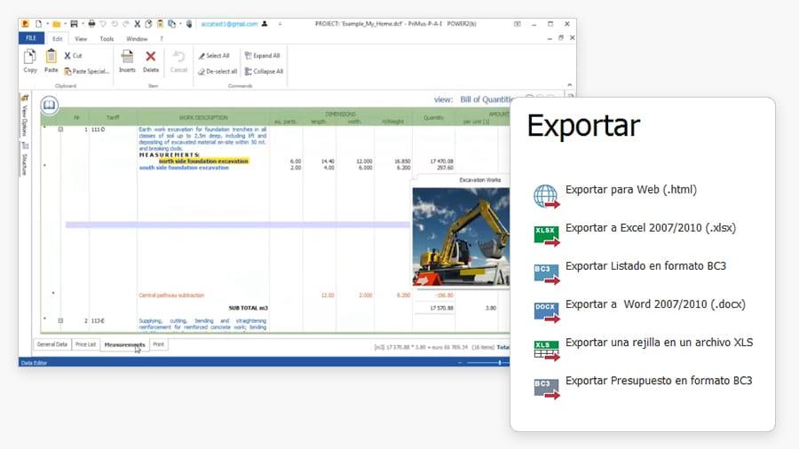 importación exportación en formatos estándar y BC3 | PriMus | ACCA software