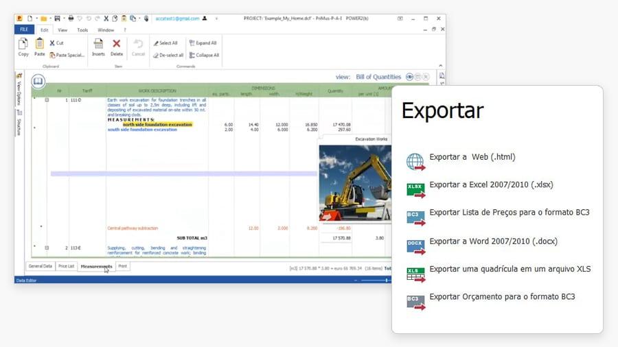 Importação exportação de formatos padrões e BC3 | PriMus | ACCA software