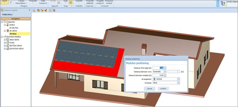 Assisted design of the photovoltaic field | Solarius PV | ACCA software