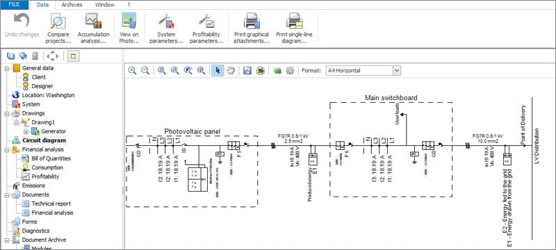 System single-line wiring diagram | Solarius PV | ACCA software