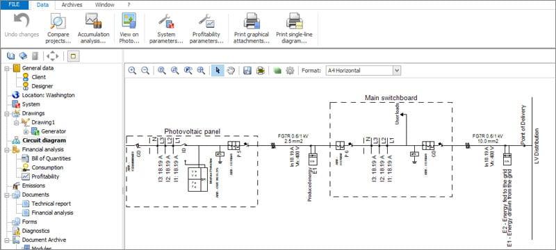 Dibujo automático esquema eléctrico unifilar de instalación fotovoltaica | Solarius PV | ACCA software