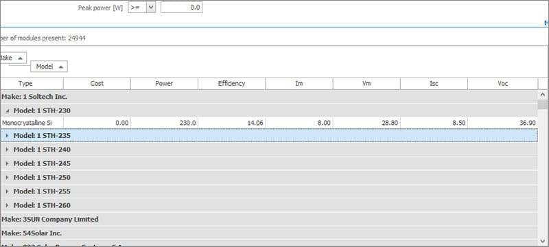 Librerías módulos, inversores, baterías | Solarius PV | ACCA software